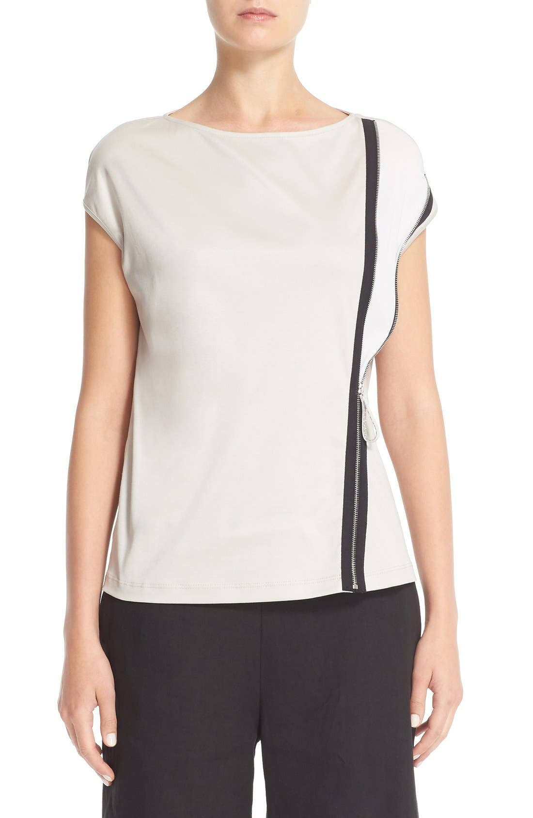 FABIANA FILIPPI Zipper Detail Jersey Top