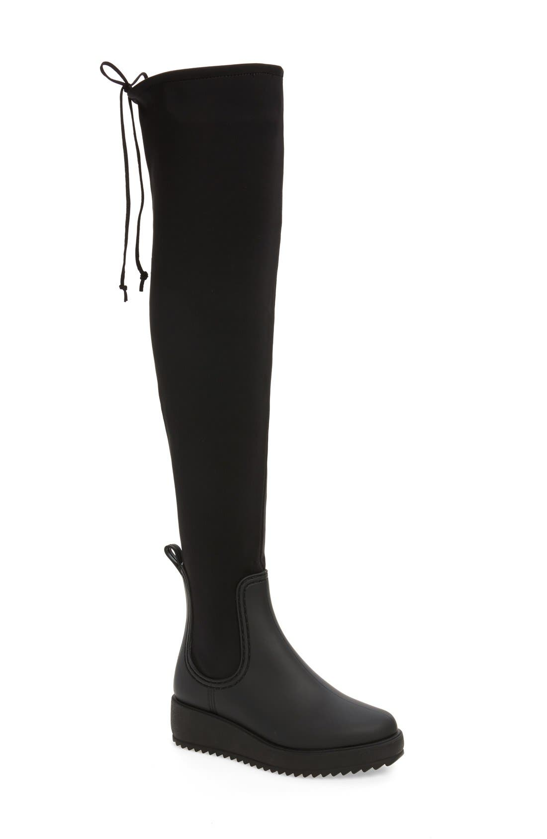 Jeffrey Campbell Monsoon Over the Knee Platform Rain Boot (Women)