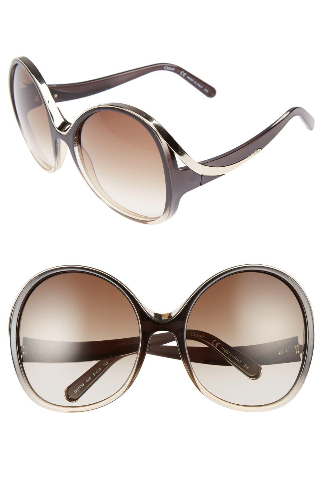 Chloé Mandy Oversized Oval 61mm Sunglasses