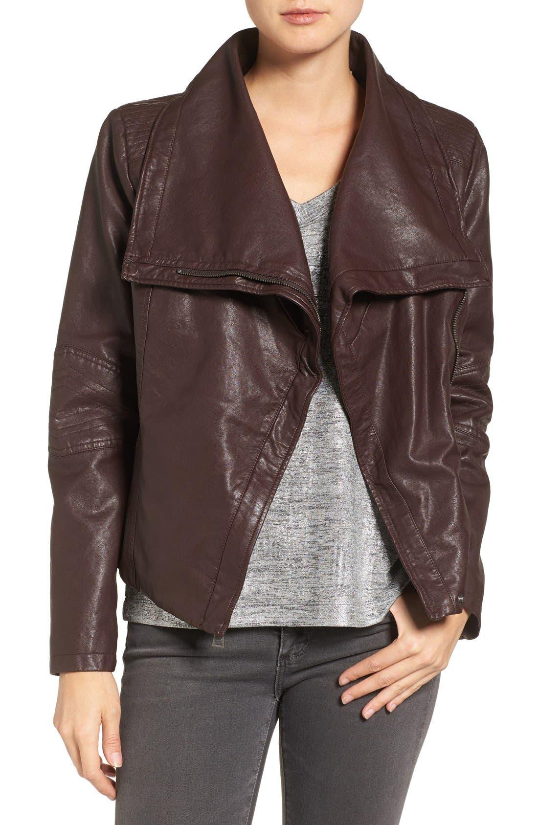 Alternate Image 1 Selected - Levi's® Cowl Neck Faux Leather Jacket