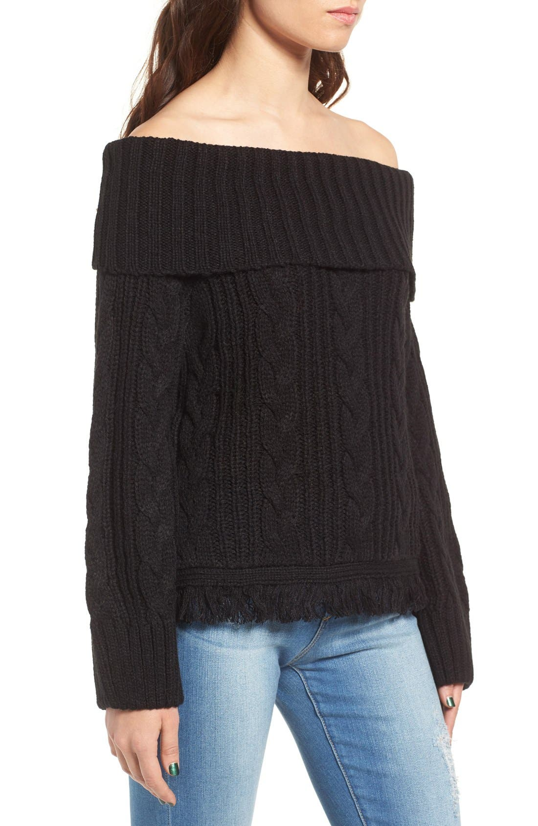 Alternate Image 4  - MOON RIVER Off the Shoulder Sweater