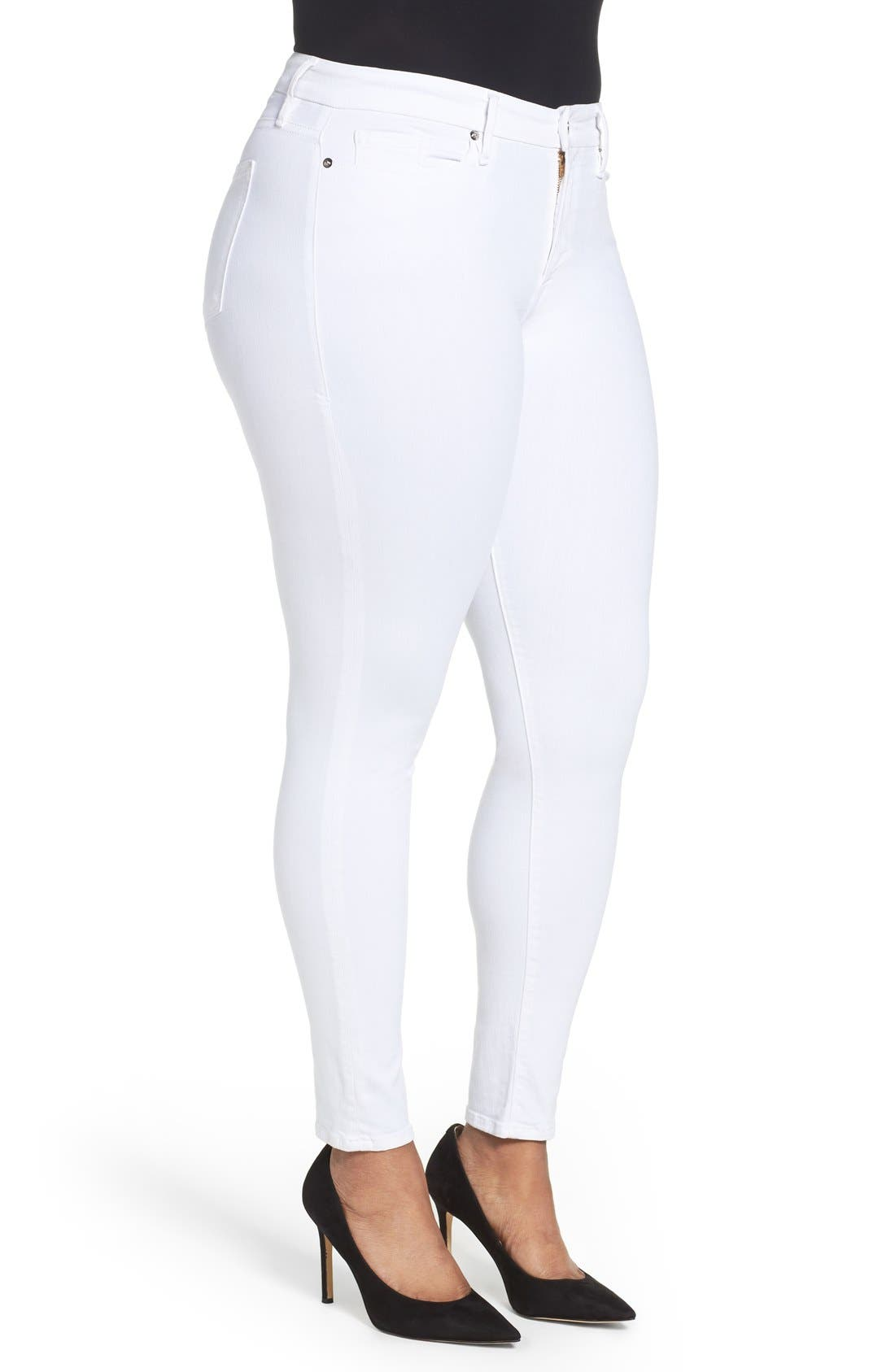 Alternate Image 7  - Good American Good Legs High Rise Skinny Jeans (White 001) (Extended Sizes)