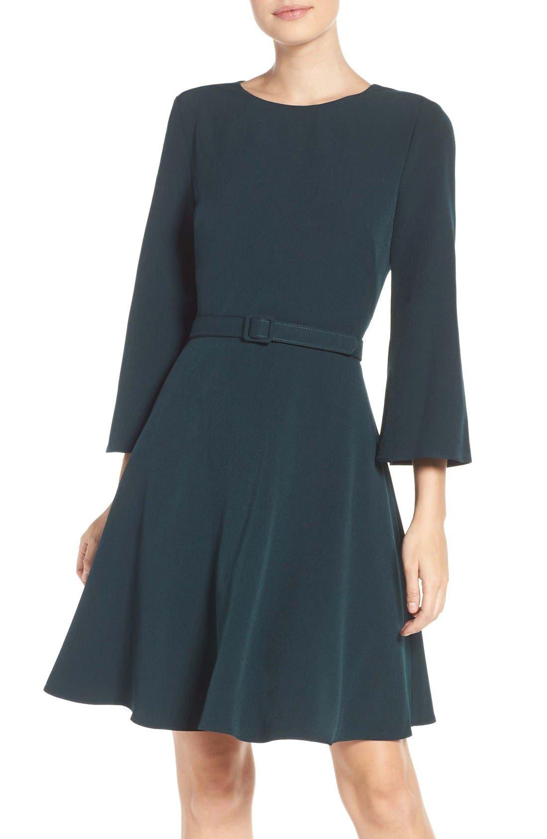 Alternate Image 1 Selected - Eliza J Crepe Fit & Flare Dress (Regular & Petite)