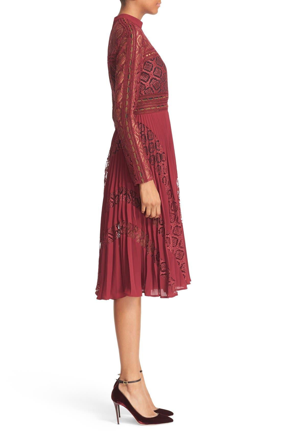 Alternate Image 4  - Self-Portrait Symm Lace & Chiffon Midi Dress