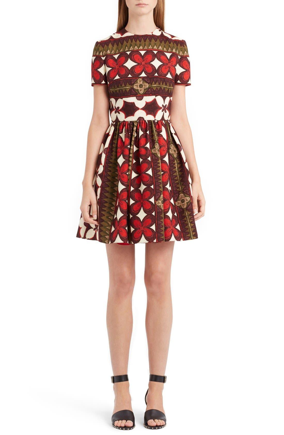 VALENTINO Print Bambolina Crepe Couture Dress