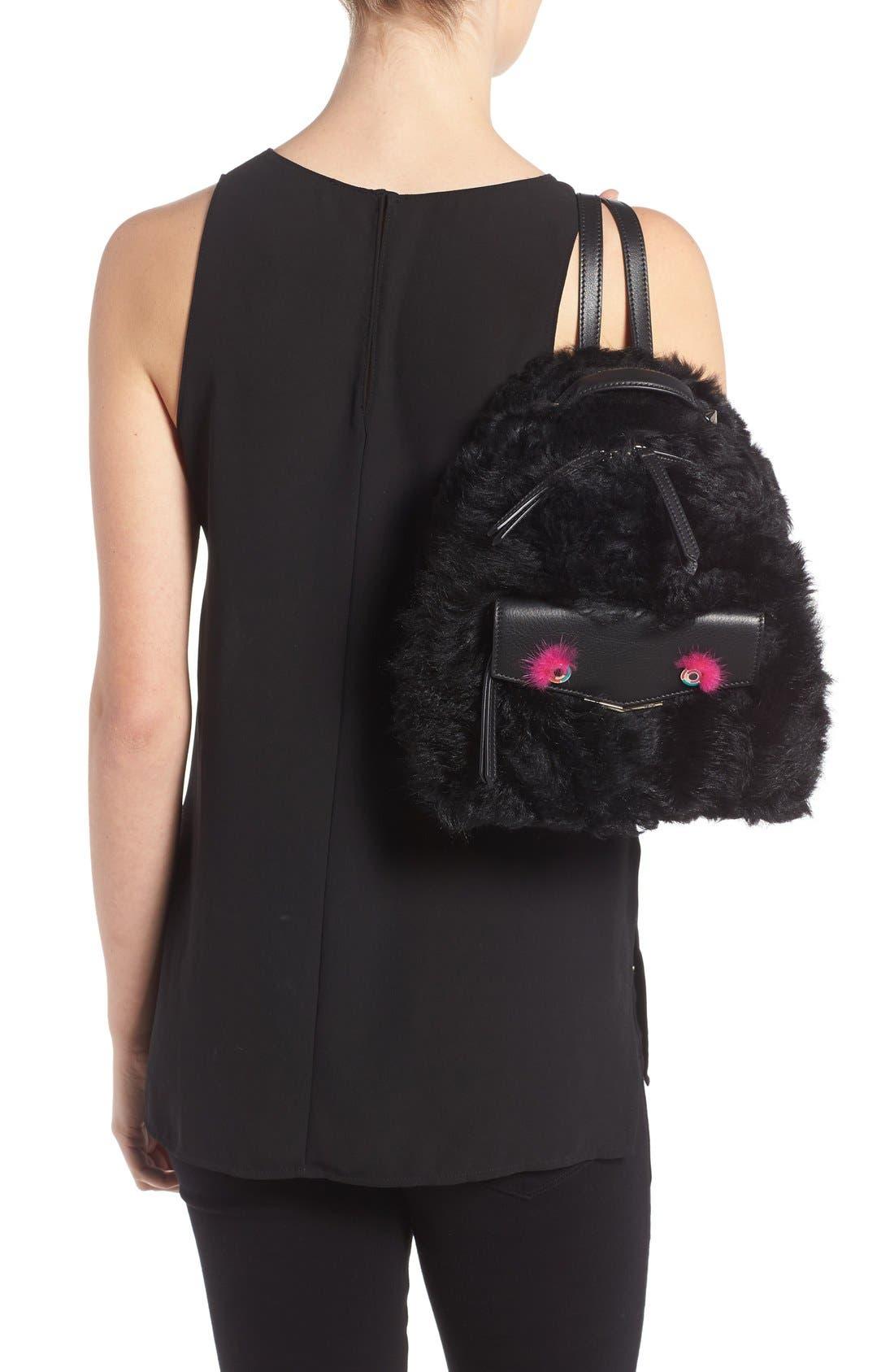 Alternate Image 2  - Fendi 'Mini Monster' Genuine Shearling & Genuine Mink Fur Backpack