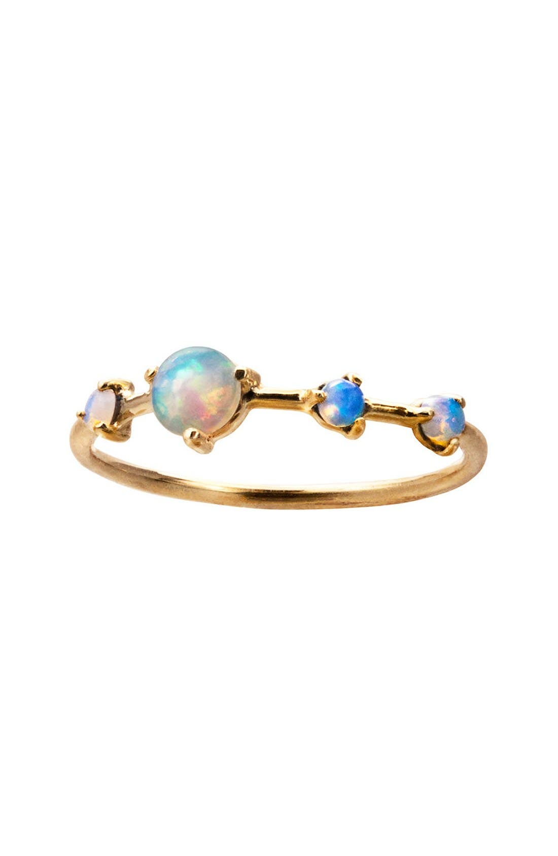 WWAKE Counting Collection Large Four Step Opal Ring