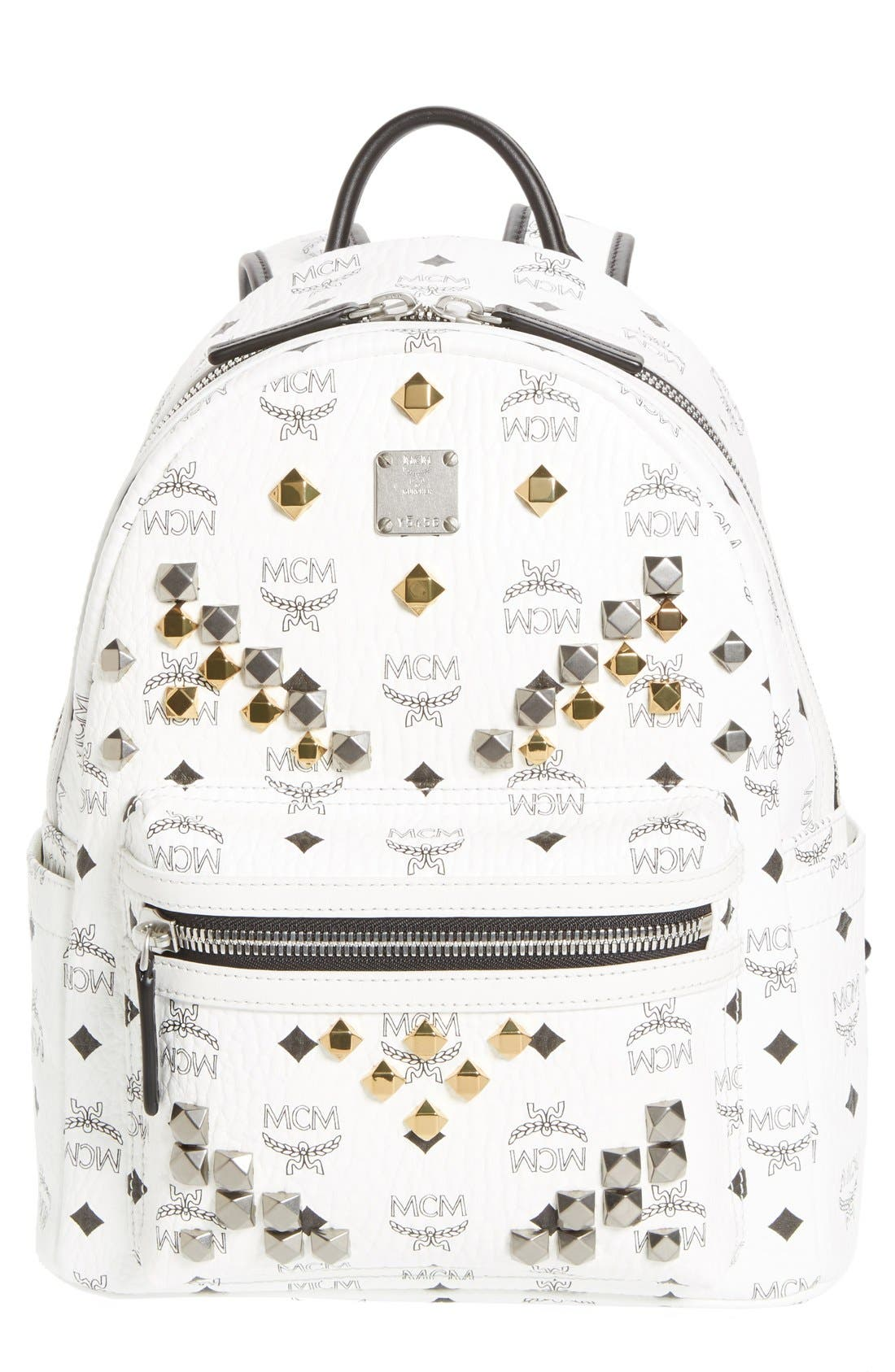 MCM 'Small Stark - Visetos' Studded Backpack