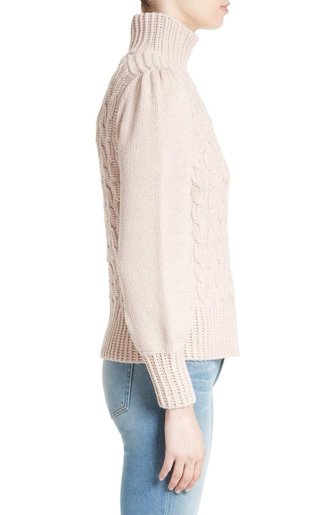 Alternate Image 3  - La Vie Rebecca Taylor Cable Knit Turtleneck Sweater