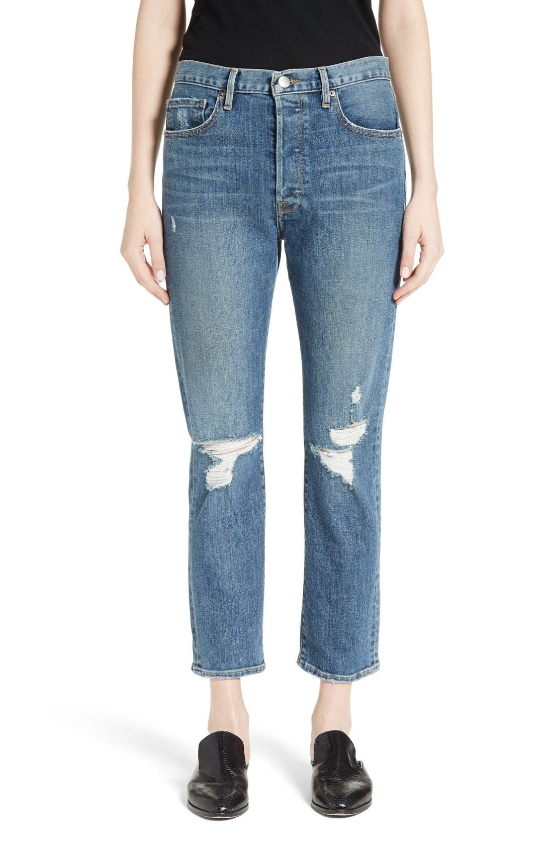 FRAME Le Original Distressed High Waist Jeans