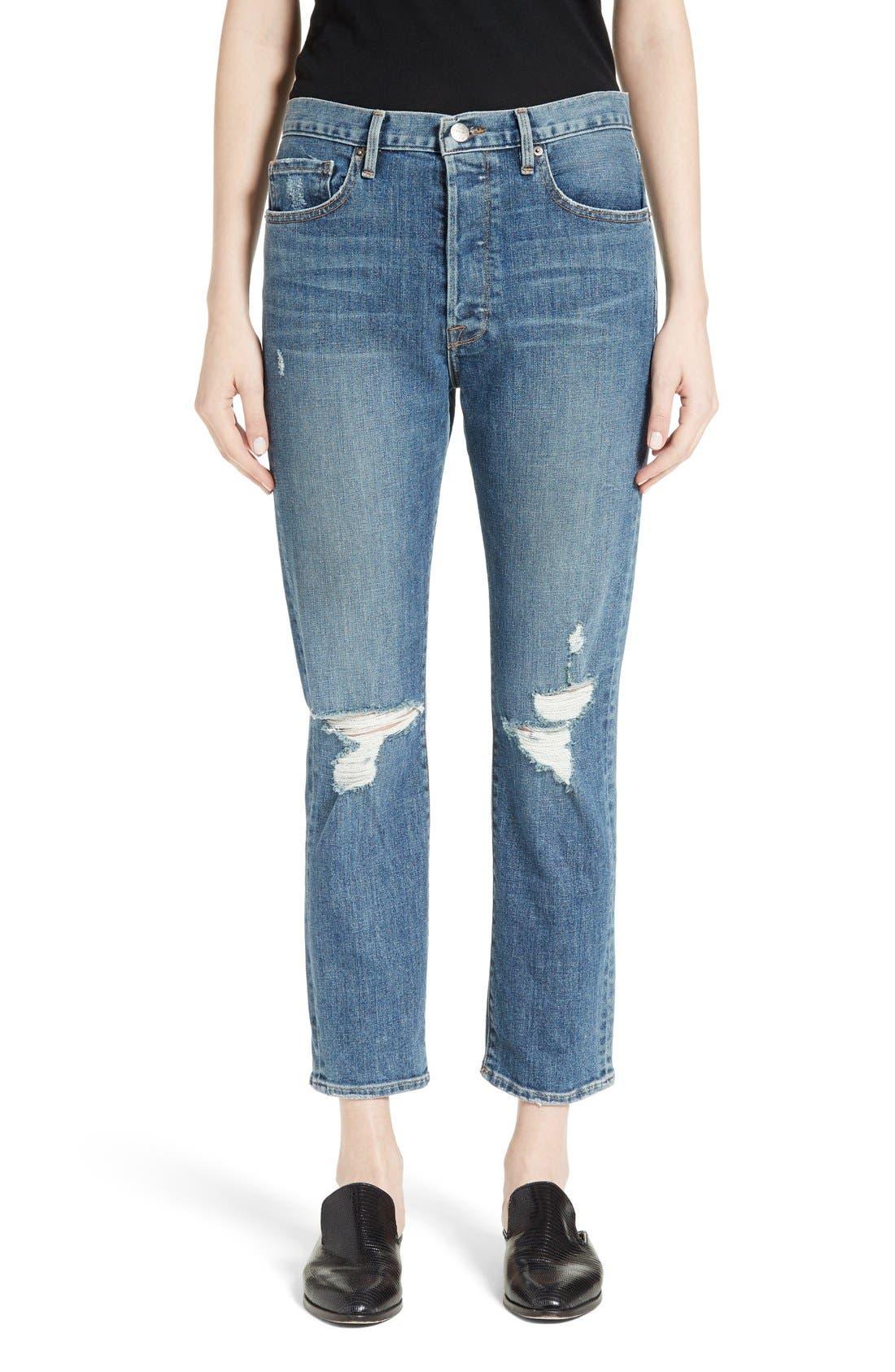 FRAME Le Original Distressed High Waist Jeans