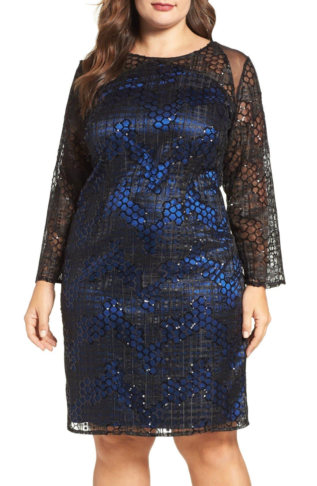 Brianna Sequin Sheath Dress (Plus Size)