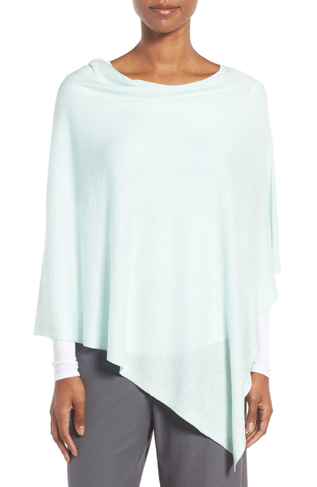 Alternate Image 1 Selected - Eileen Fisher Silk & Organic Linen Poncho (Regular & Petite)