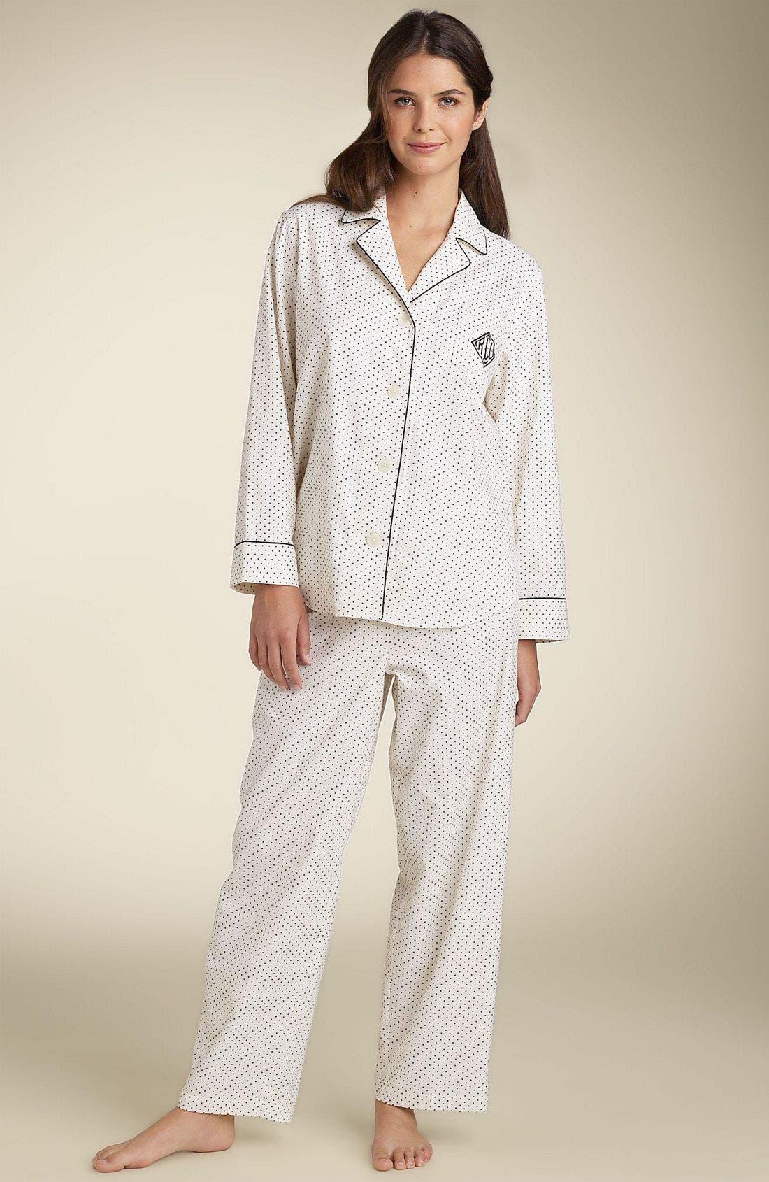 Alternate Image 1 Selected - Lauren Ralph Lauren Sleepwear Stripe Flannel Pajamas