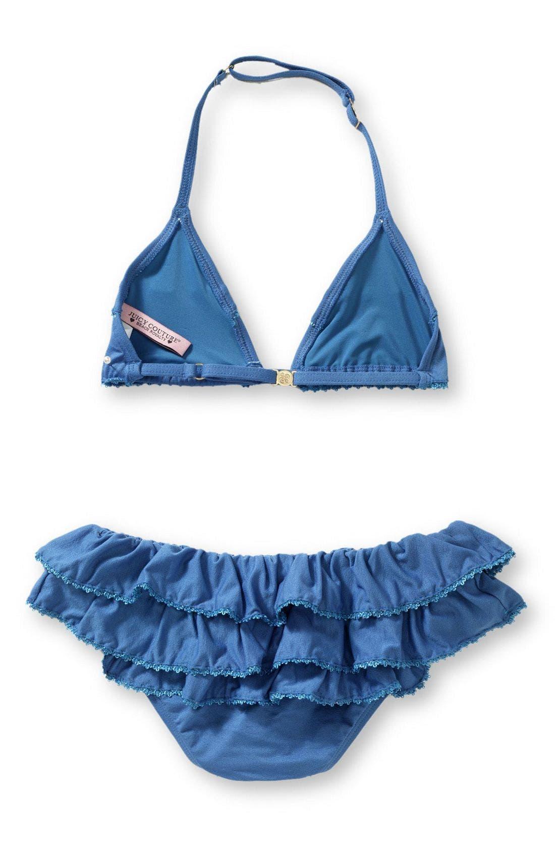 Alternate Image 2  - Juicy Couture Ruffle Bikini (Big Girls)