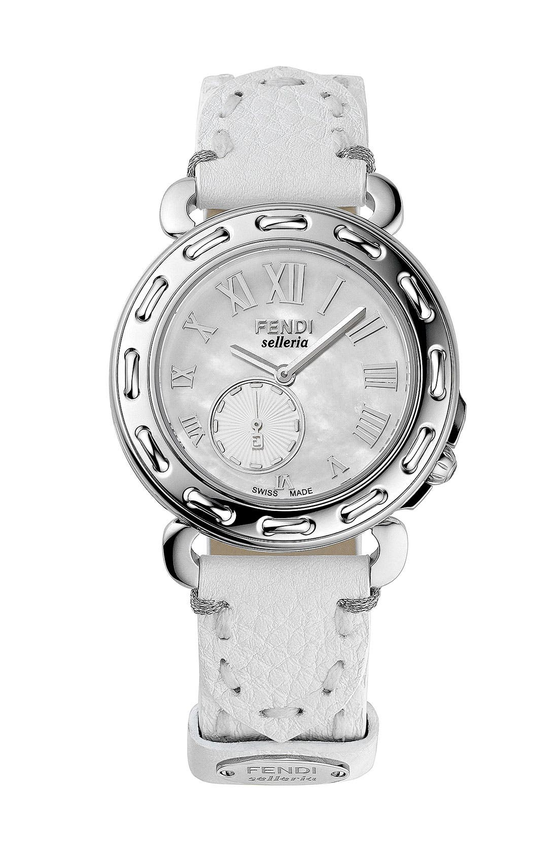 Alternate Image 2  - Fendi 'Selleria' Mother-of-Pearl Watch Case, 46mm