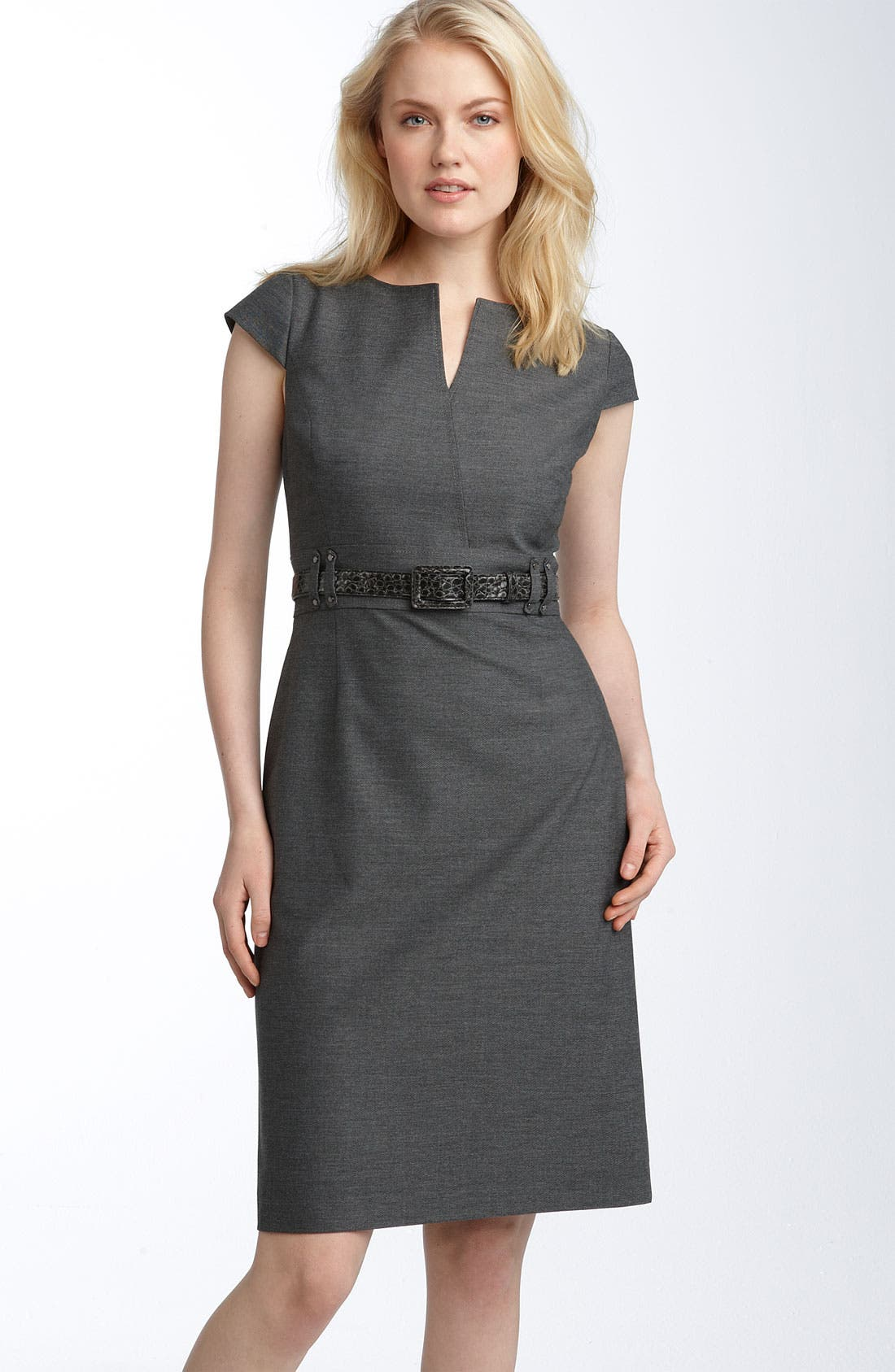 Alternate Image 1 Selected - Tahari by Arthur S. Levine Belted Split Neck Sheath Dress