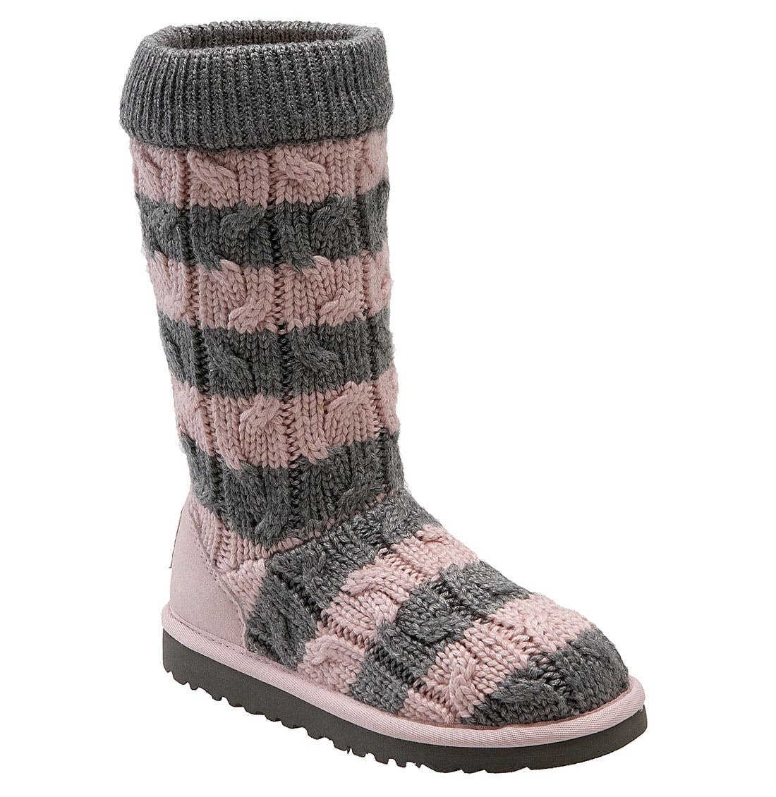 Main Image - UGG® Australia 'Classic Tall' Stripe Cable Knit Boot (Toddler, Little Kid & Big Kid)