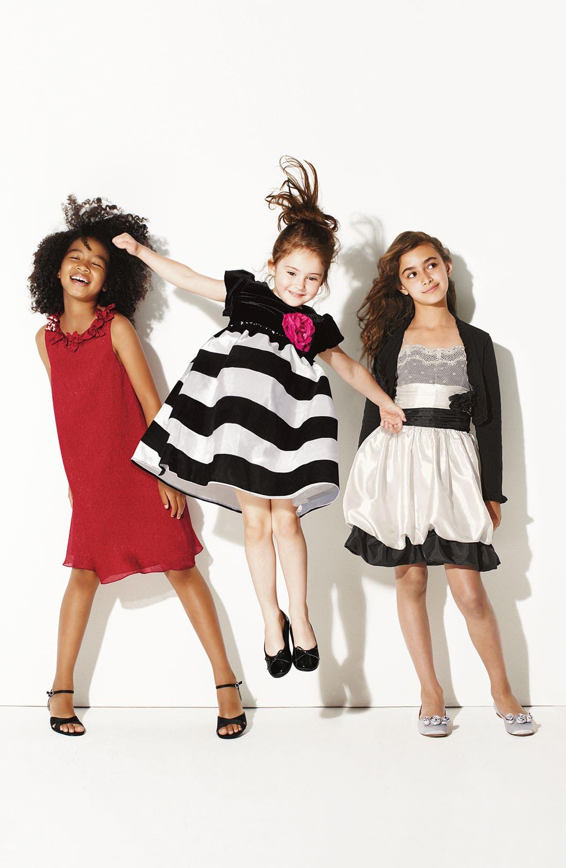 Alternate Image 2  - Zunie Velvet Stripe Taffeta Dress (Little Girls)
