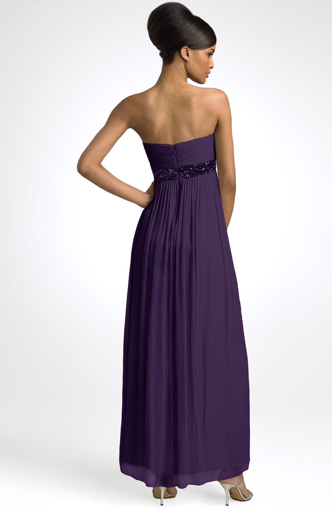 Alternate Image 2  - Maggy London Strapless Beaded Chiffon Empire Gown