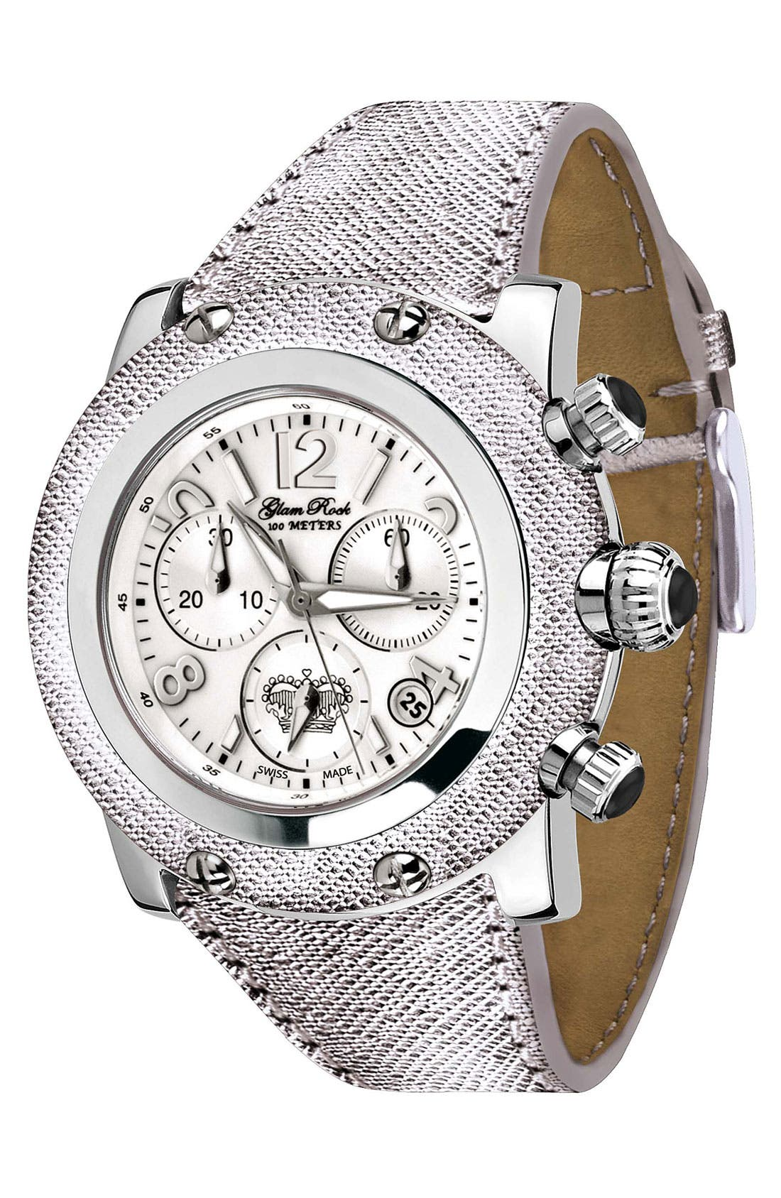 Alternate Image 1 Selected - Glam Rock 'Miami' Leather Strap Chronograph Watch