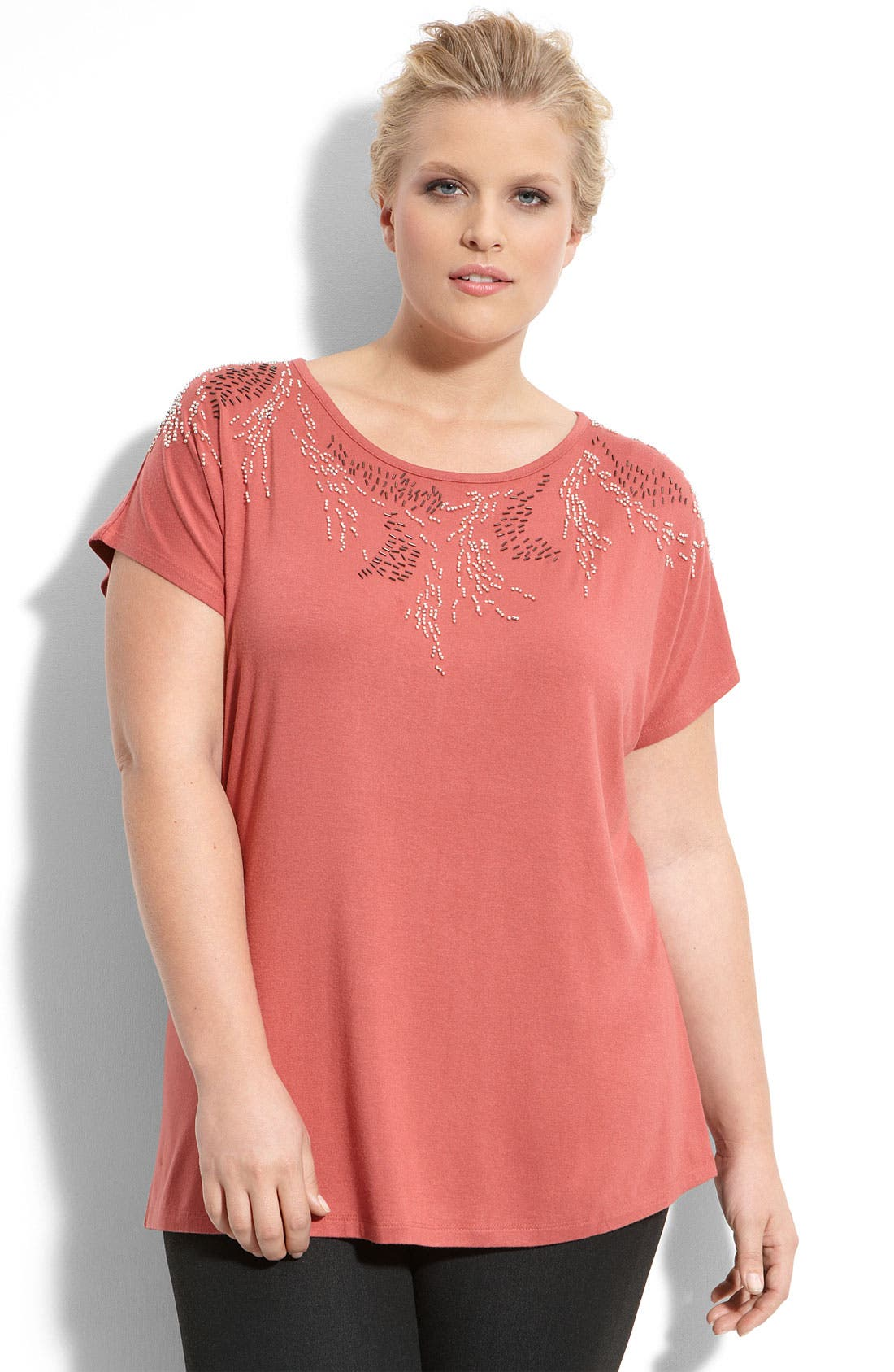 Alternate Image 1 Selected - Sejour Beaded Scoop Neck Tee (Plus)