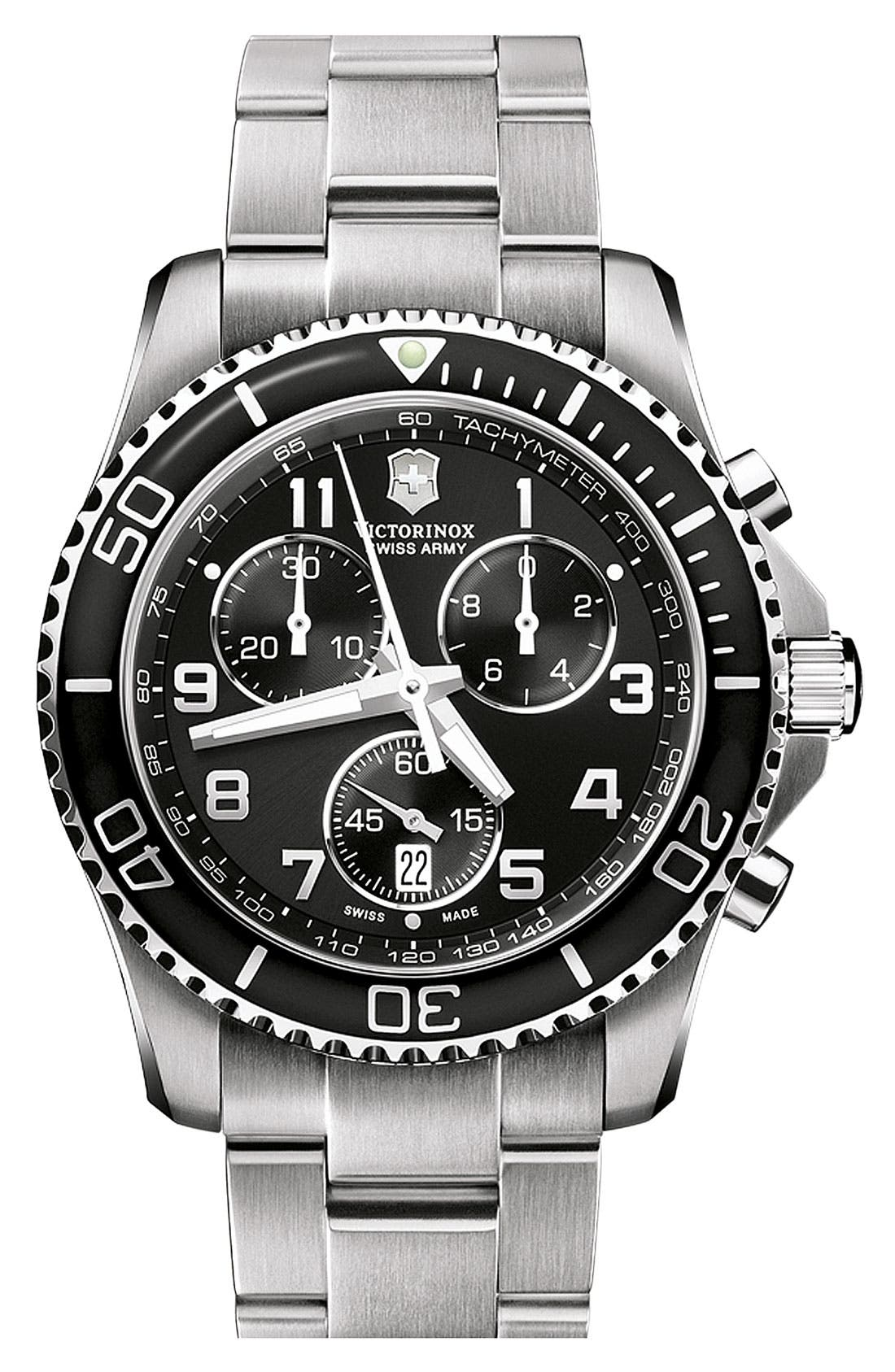 Alternate Image 1 Selected - Victorinox Swiss Army® 'Maverick GS' Stainless Steel Chronograph Watch, 43mm