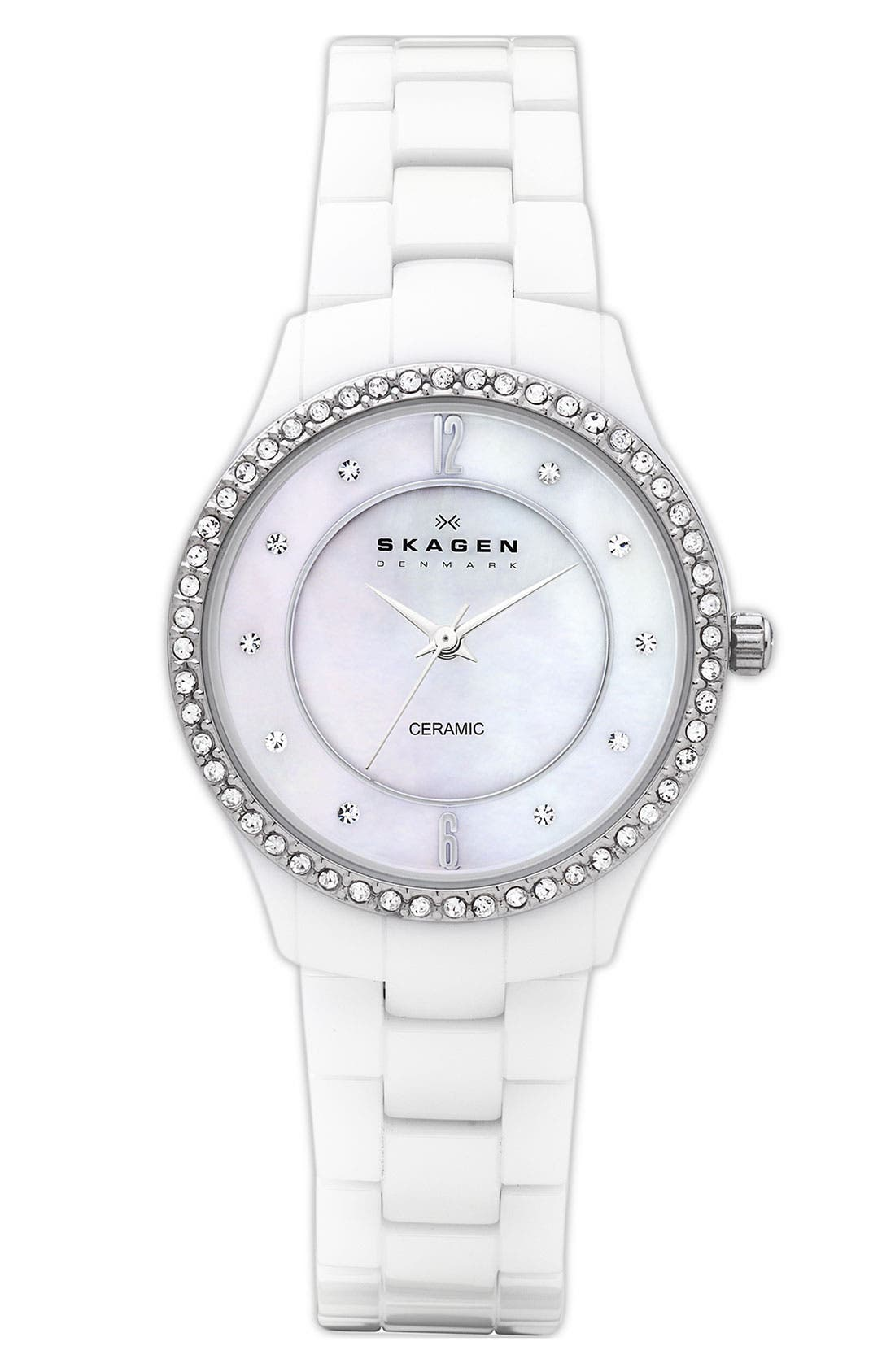 Alternate Image 1 Selected - Skagen 'Katja' Medium Crystal Bezel Ceramic Watch, 30mm