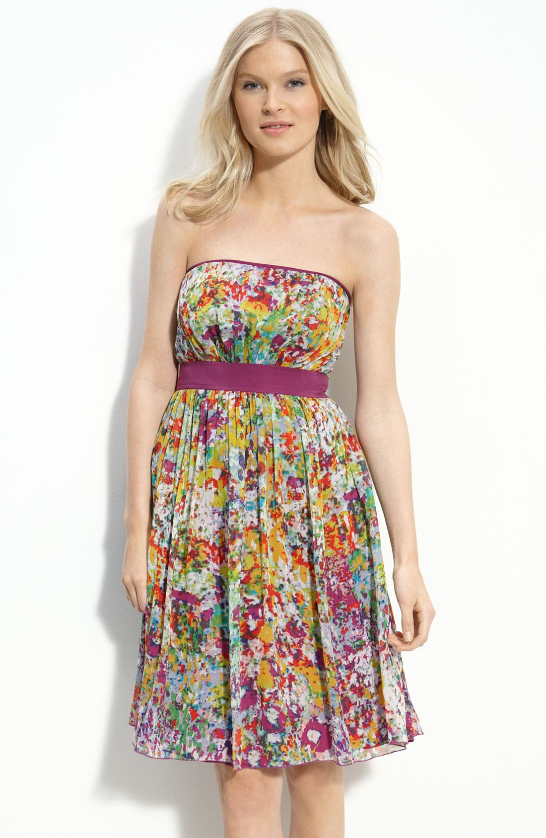 Main Image - Donna Morgan Strapless Floral Print Chiffon Dress