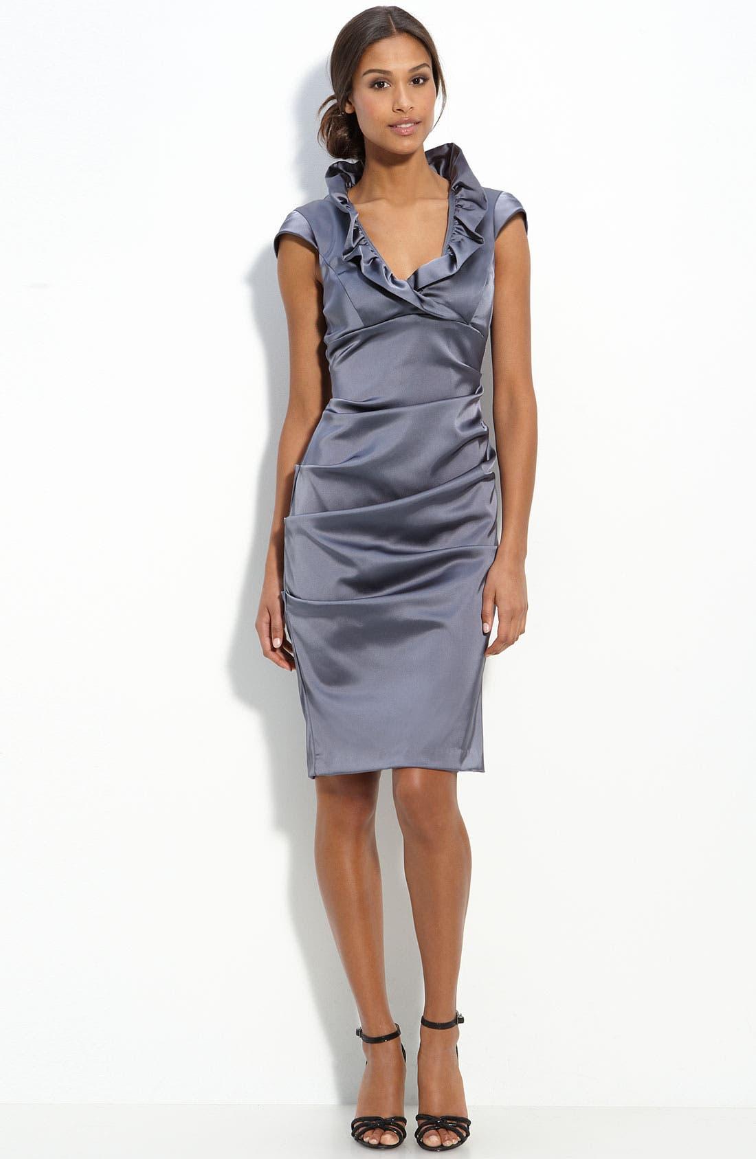 Alternate Image 1 Selected - Xscape Ruffle Collar Stretch Satin Sheath Dress