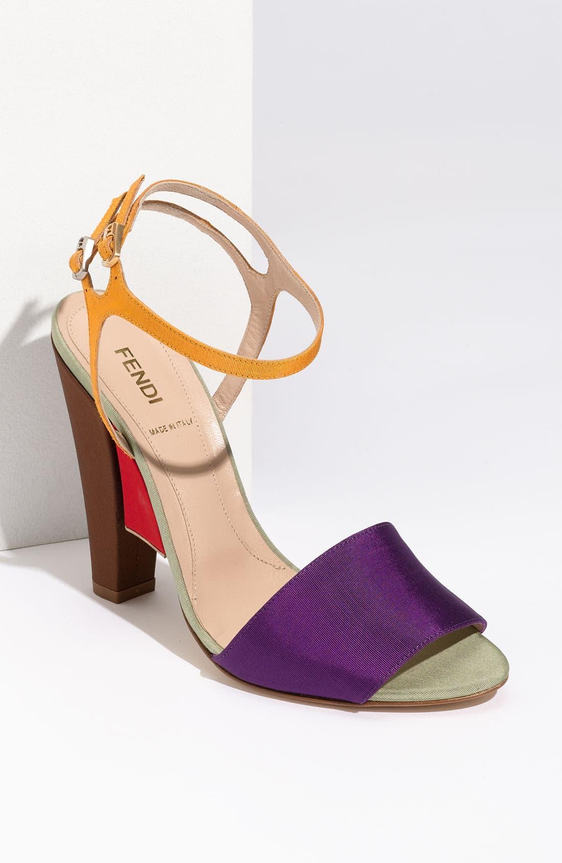 Main Image - Fendi Colorblock Grosgrain Sandal