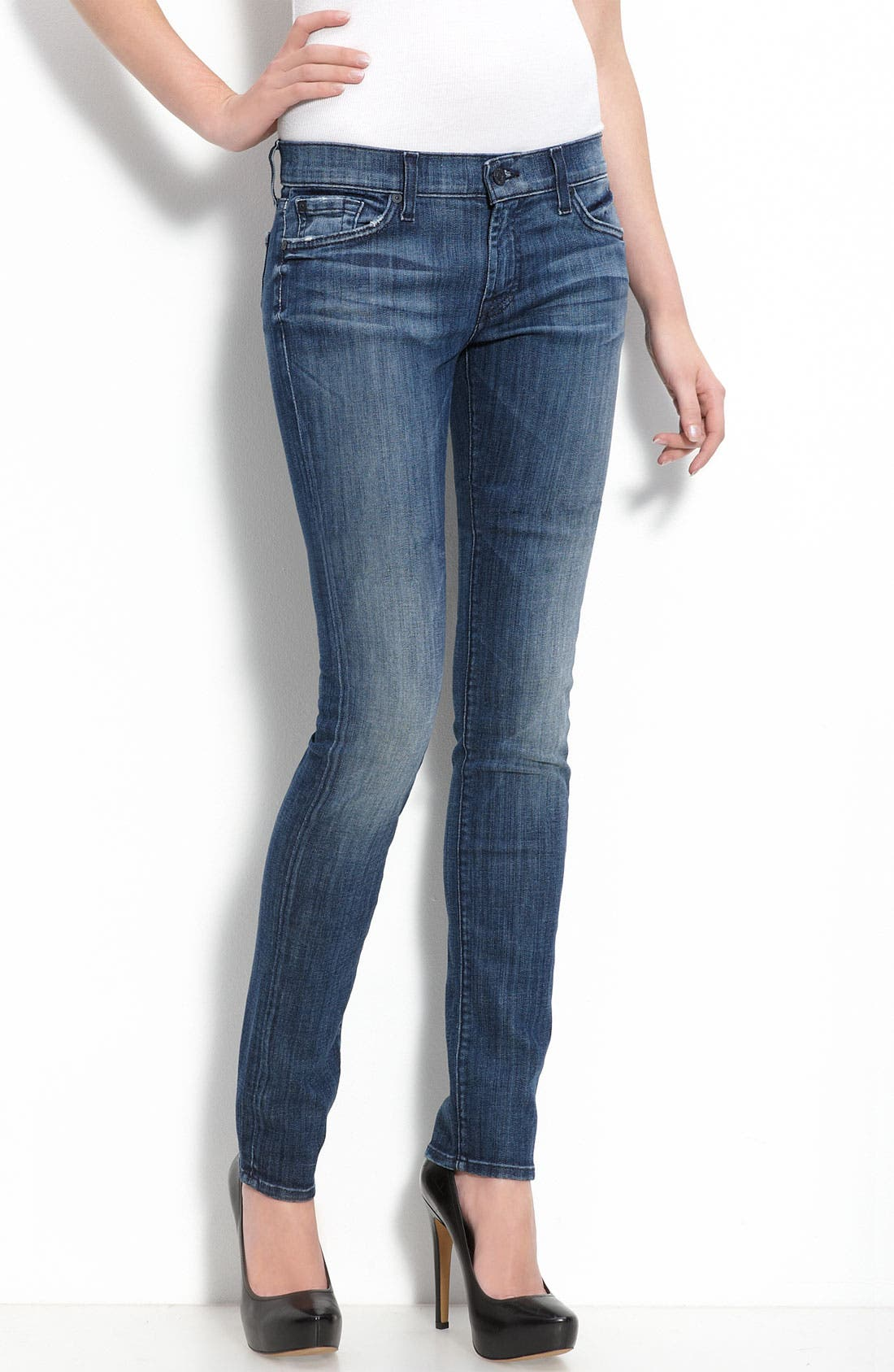 Alternate Image 1 Selected - 7 For All Mankind® 'Roxanne' Skinny Stretch Jeans (Adara Night Wash)