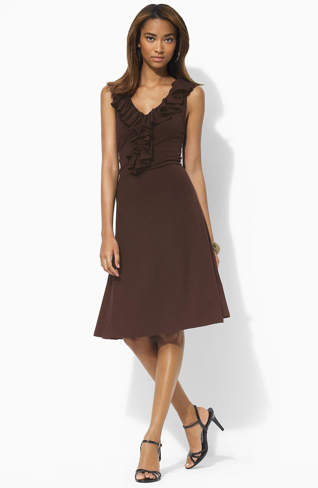 Main Image - Lauren by Ralph Lauren Ruffled V-Neck Dress (Petite)