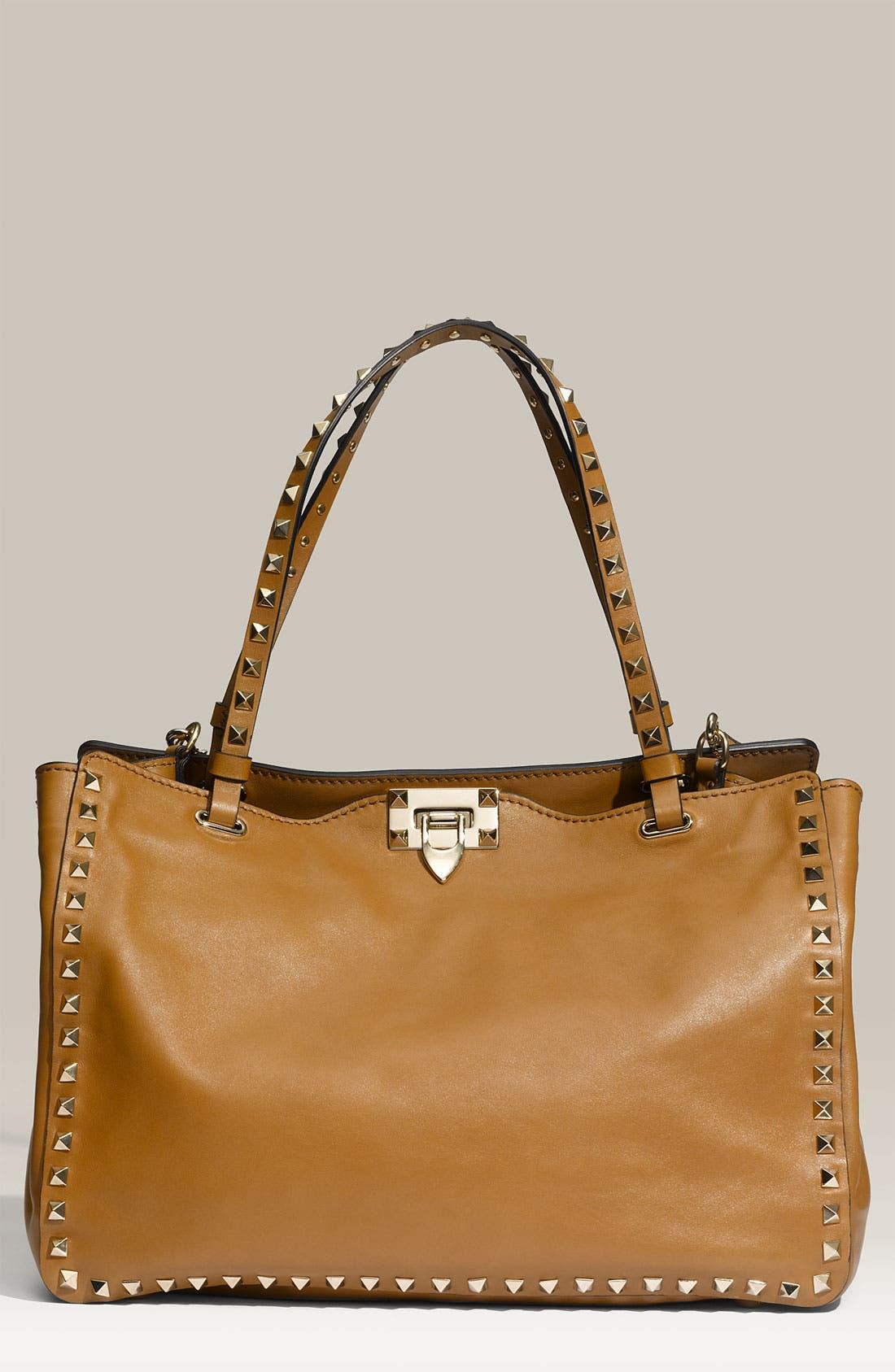 Alternate Image 1 Selected - Valentino 'Rockstud - Medium' Leather Tote