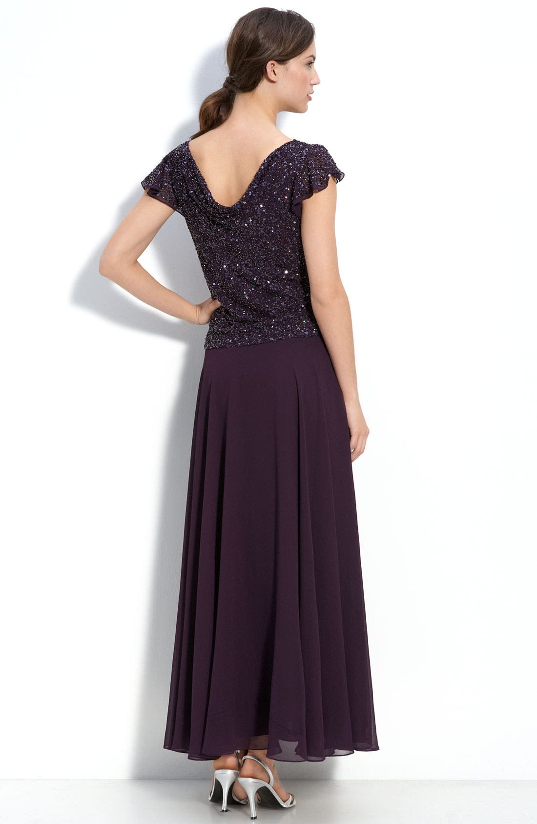 Alternate Image 2  - J Kara Beaded Mock Two Piece Chiffon Dress