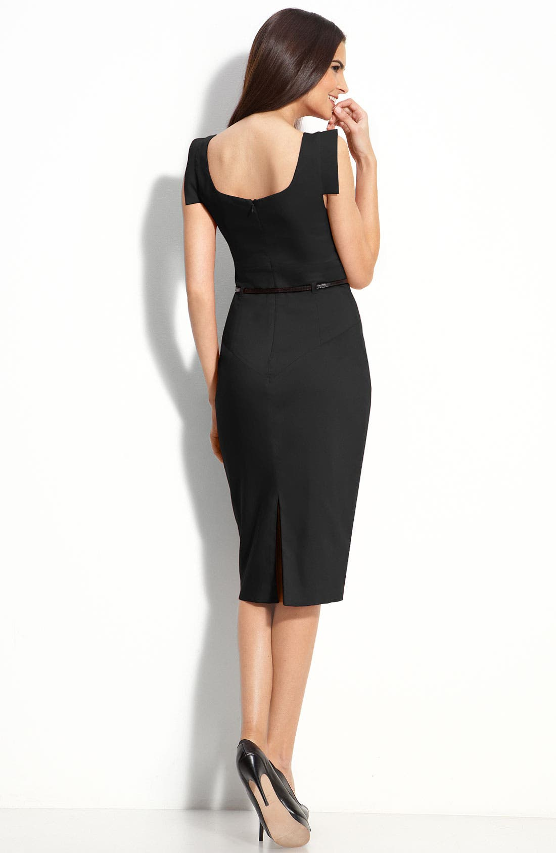 Alternate Image 2  - Black Halo 'Jackie' Belted Gabardine Sheath Dress
