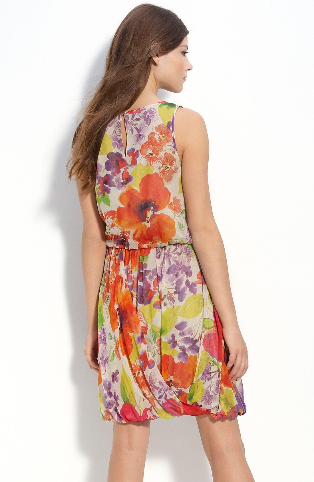 Alternate Image 2  - ECI Floral Chiffon Blouson Dress