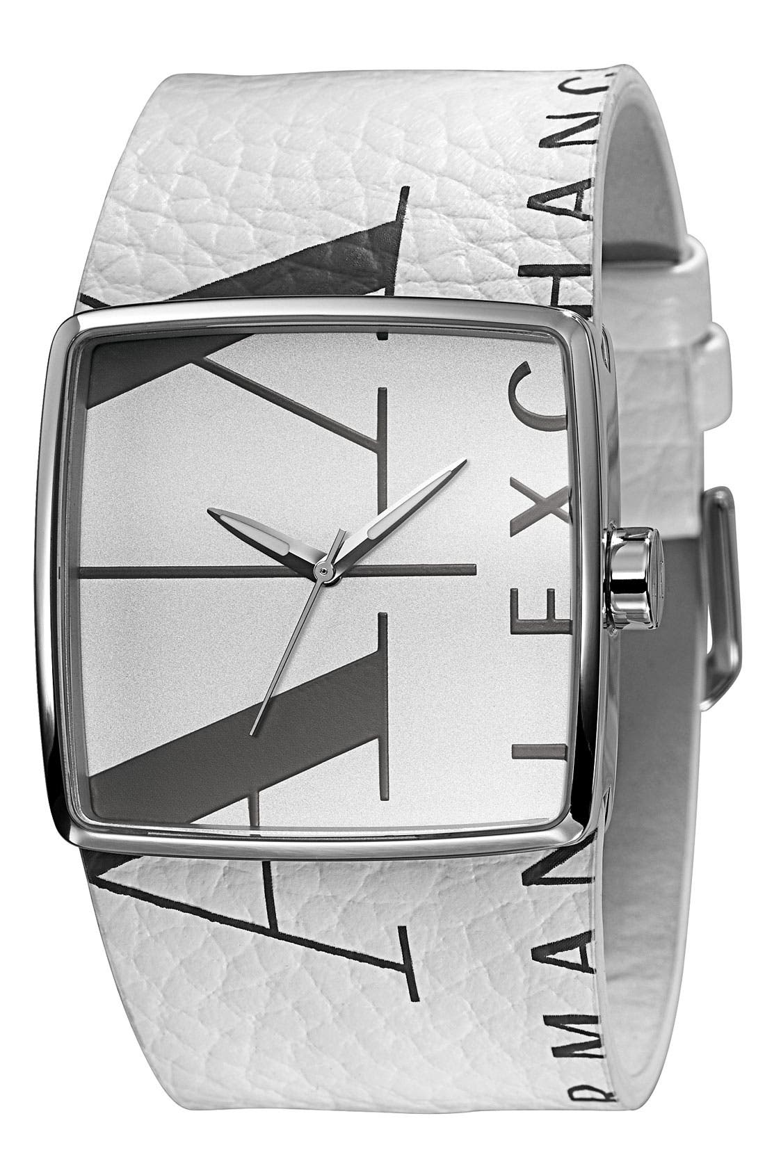 Alternate Image 1 Selected - AX Armani Exchange Square Logo Watch