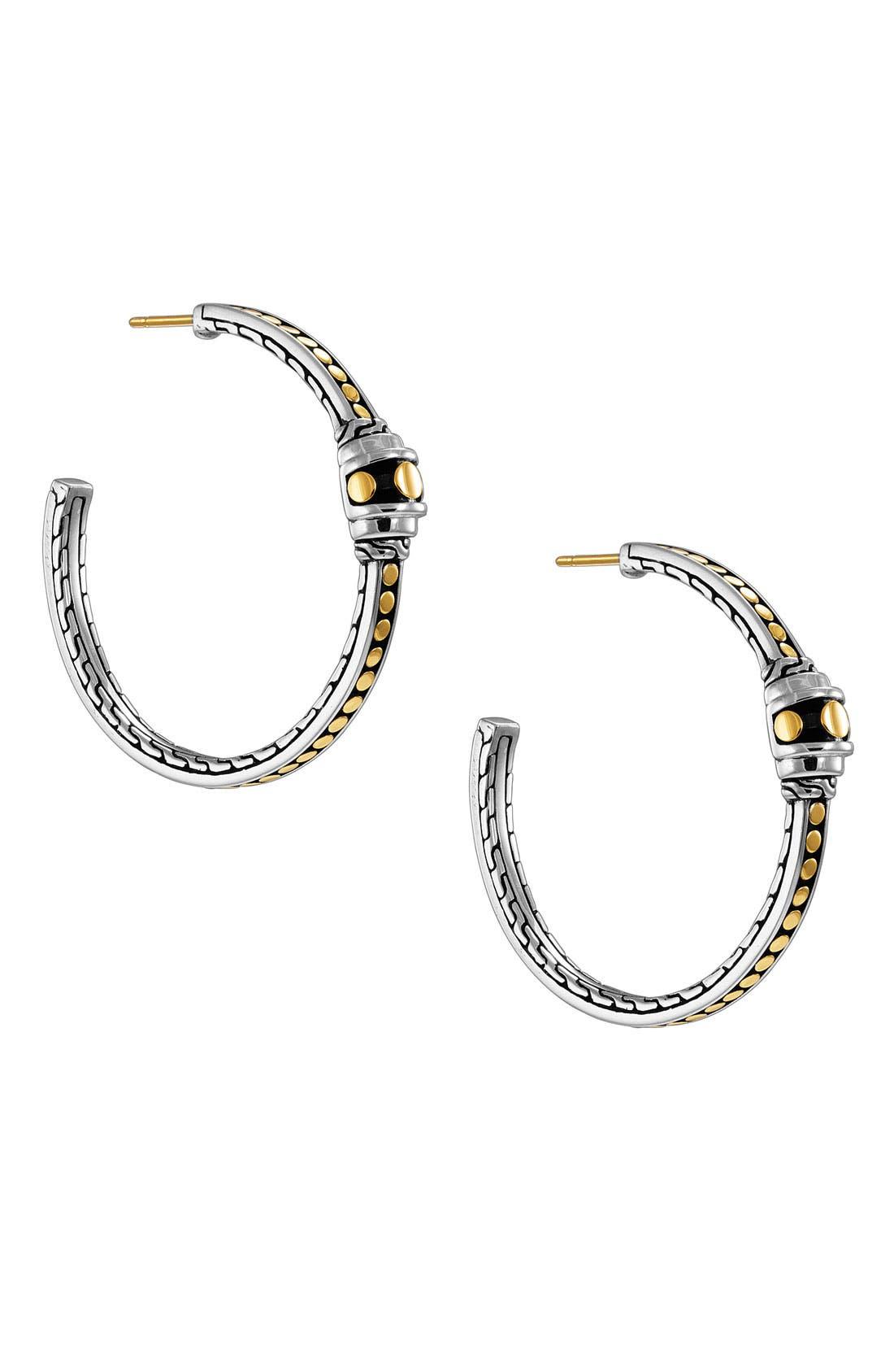 Main Image - John Hardy 'Dot Gold & Silver' Station Hoop Earrings