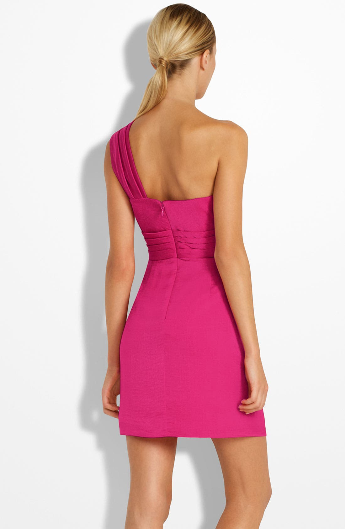 Alternate Image 2  - BCBGMAXAZRIA Drape Front One-Shoulder Satin Dress