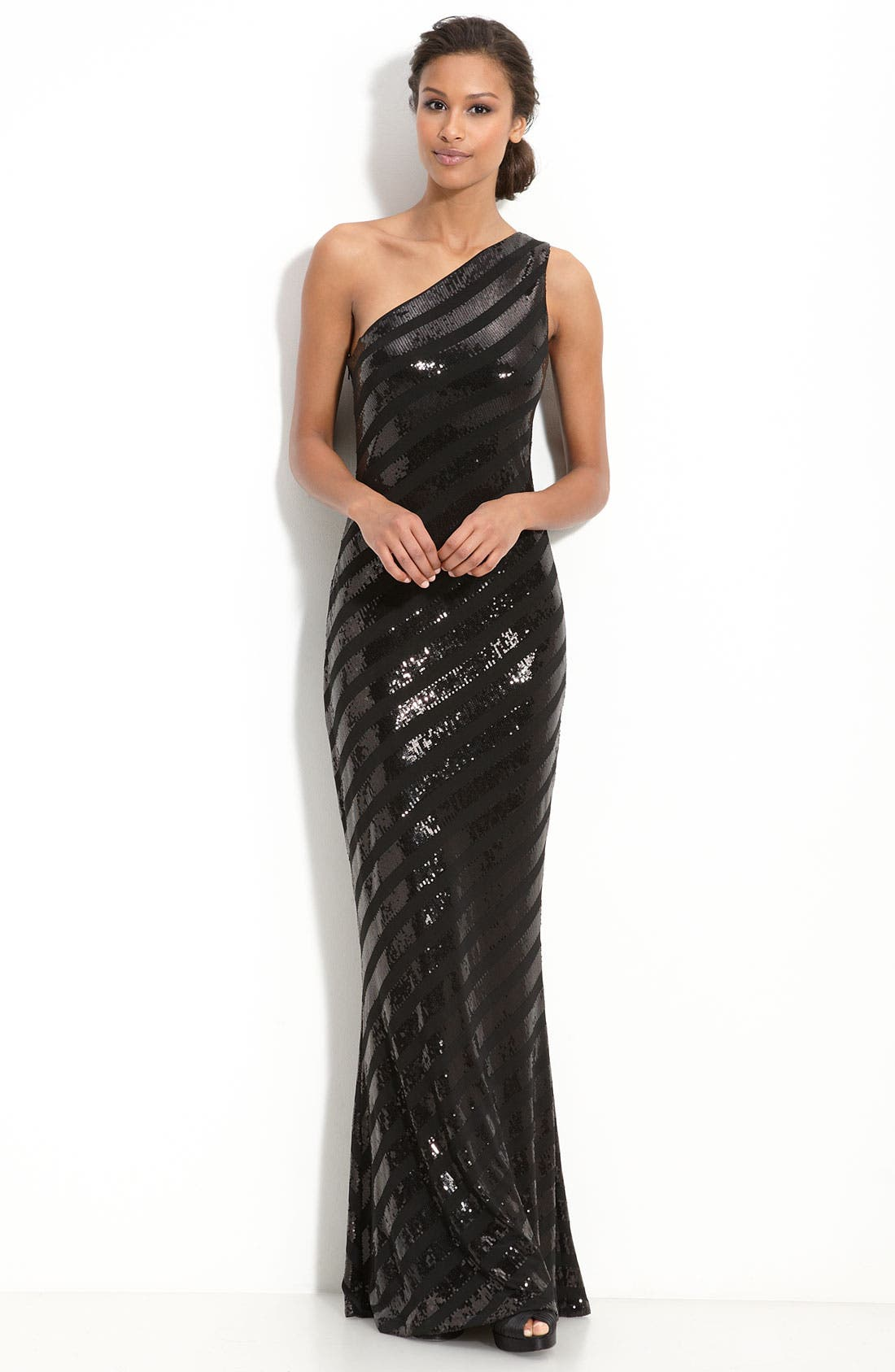 Main Image - David Meister Sequin Stripe Jersey Gown
