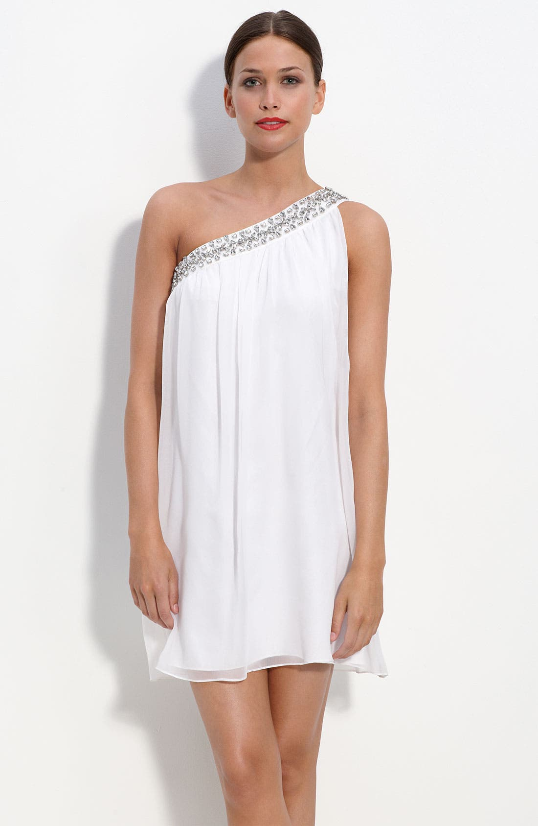 Main Image - Calvin Klein One Shoulder Chiffon Dress with Rhinestone Trim