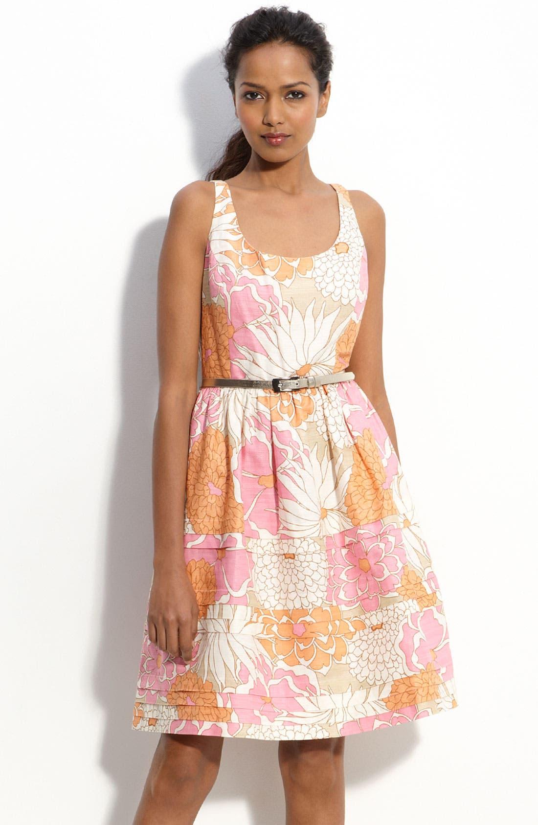 Alternate Image 1 Selected - Eliza J Belted Linen Blend Dress