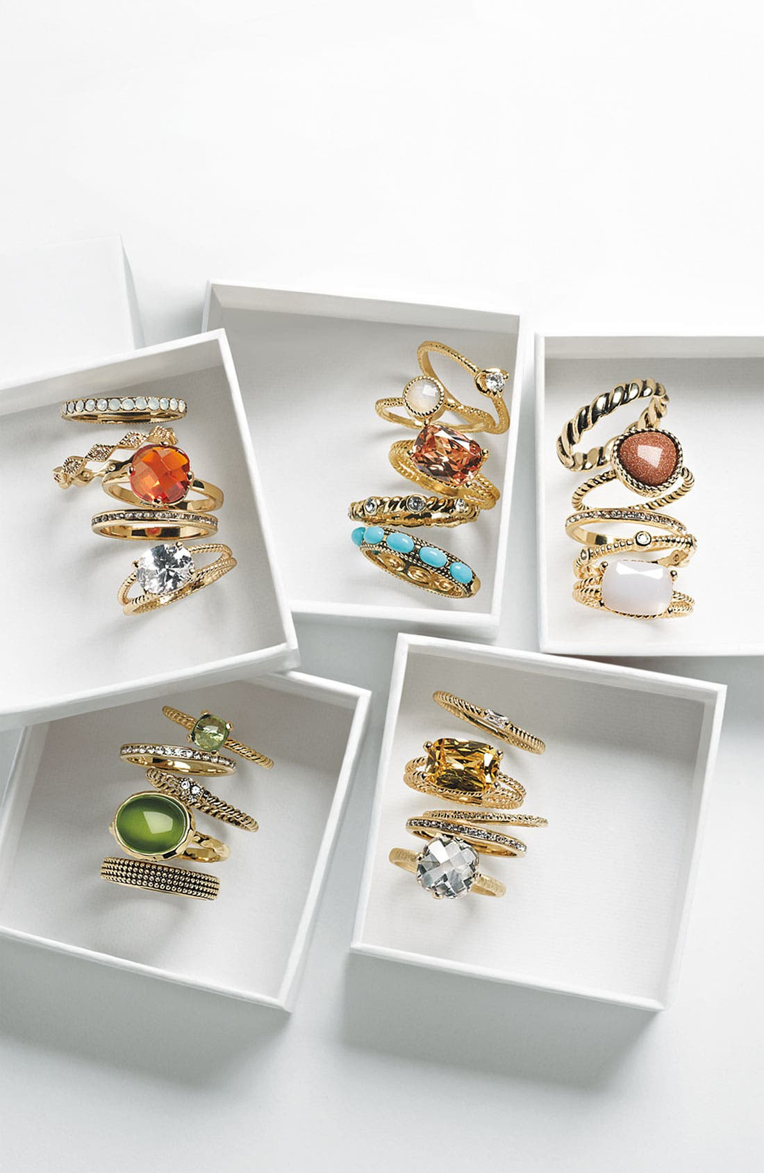 Alternate Image 2  - Ariella Collection Mixed Stackable Rings (Set of 5)