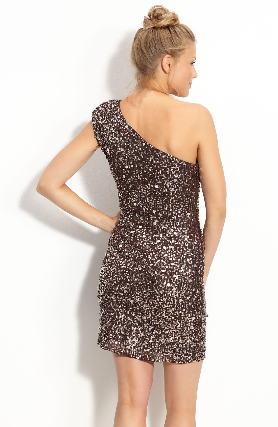 Alternate Image 2  - Adrianna Papell Sequin One Shoulder Dress