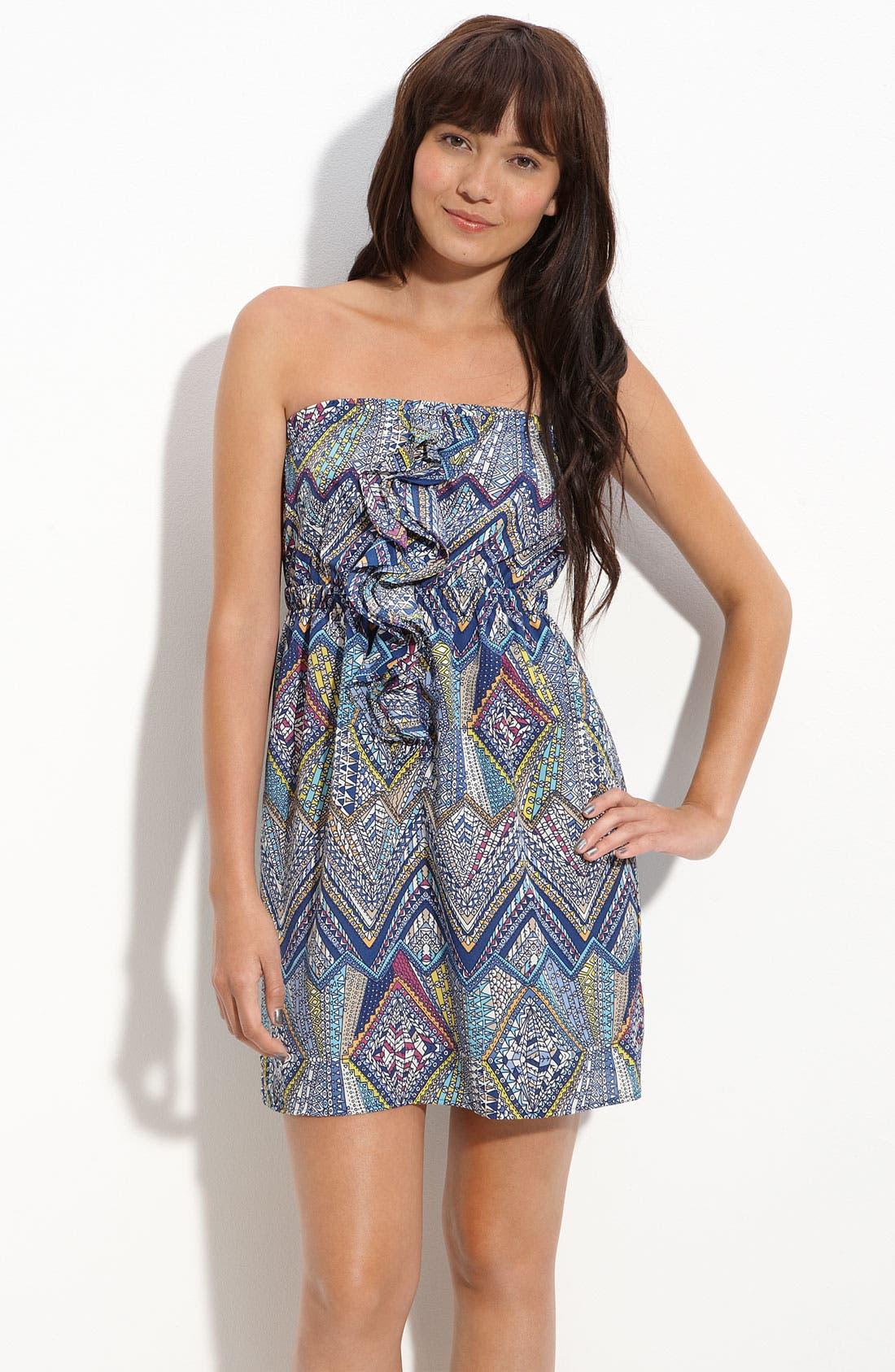 Main Image - Lush Ruffle Front Strapless Dress (Juniors)