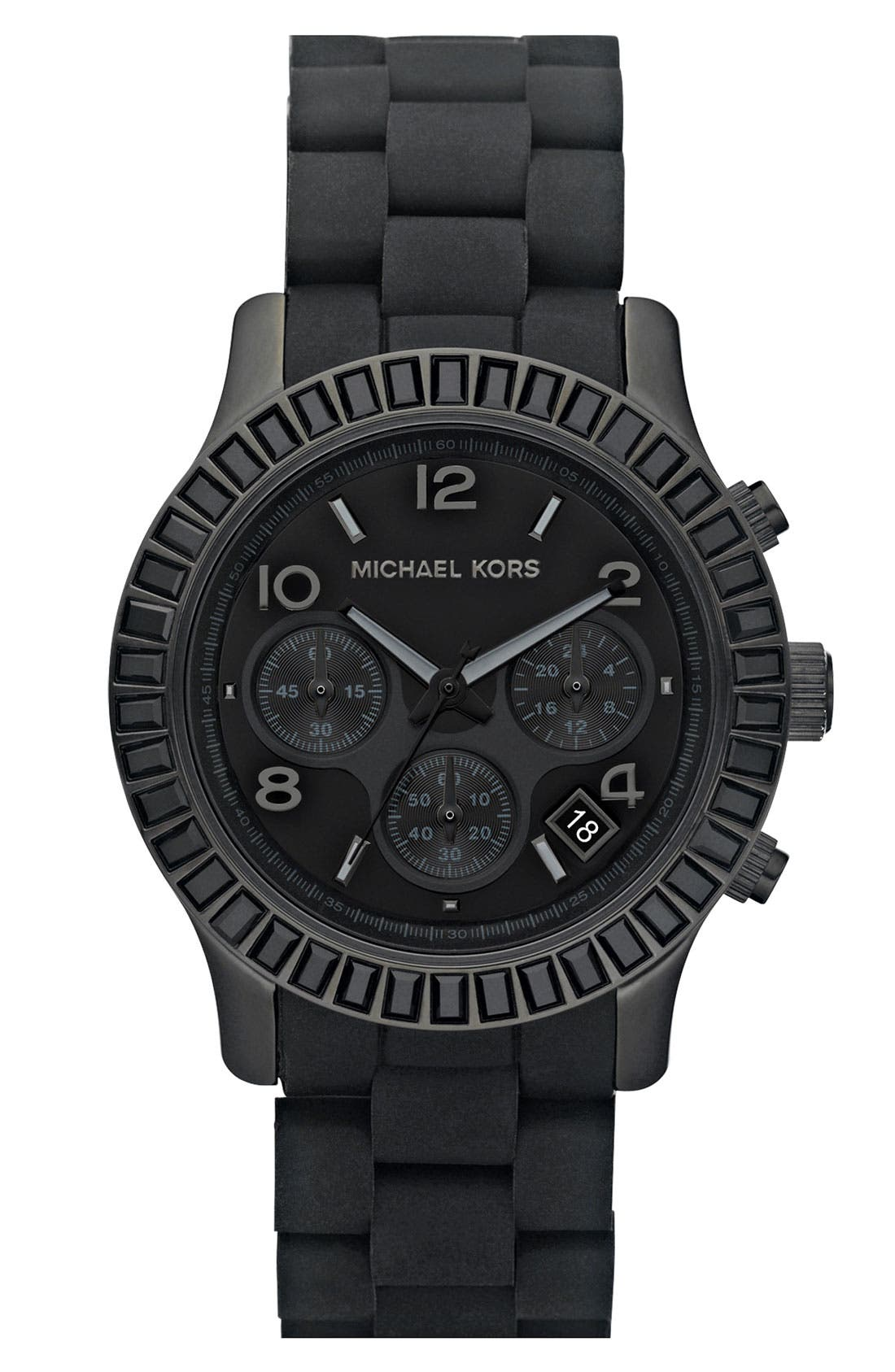Alternate Image 1 Selected - Michael Kors 'Runway' Black Crystal Rim Watch