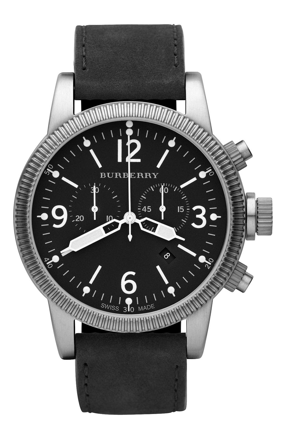 Alternate Image 1 Selected - Burberry Leather Strap Chronograph Watch