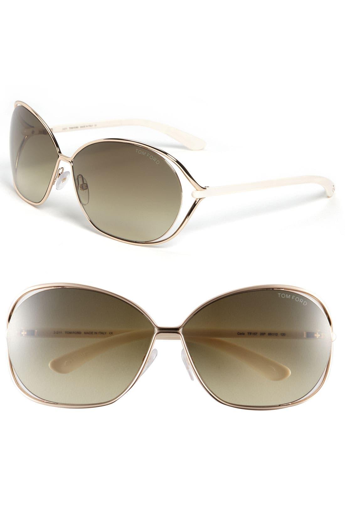 Main Image - Tom Ford 'Carla' 66mm Oversized Round Metal Sunglasses