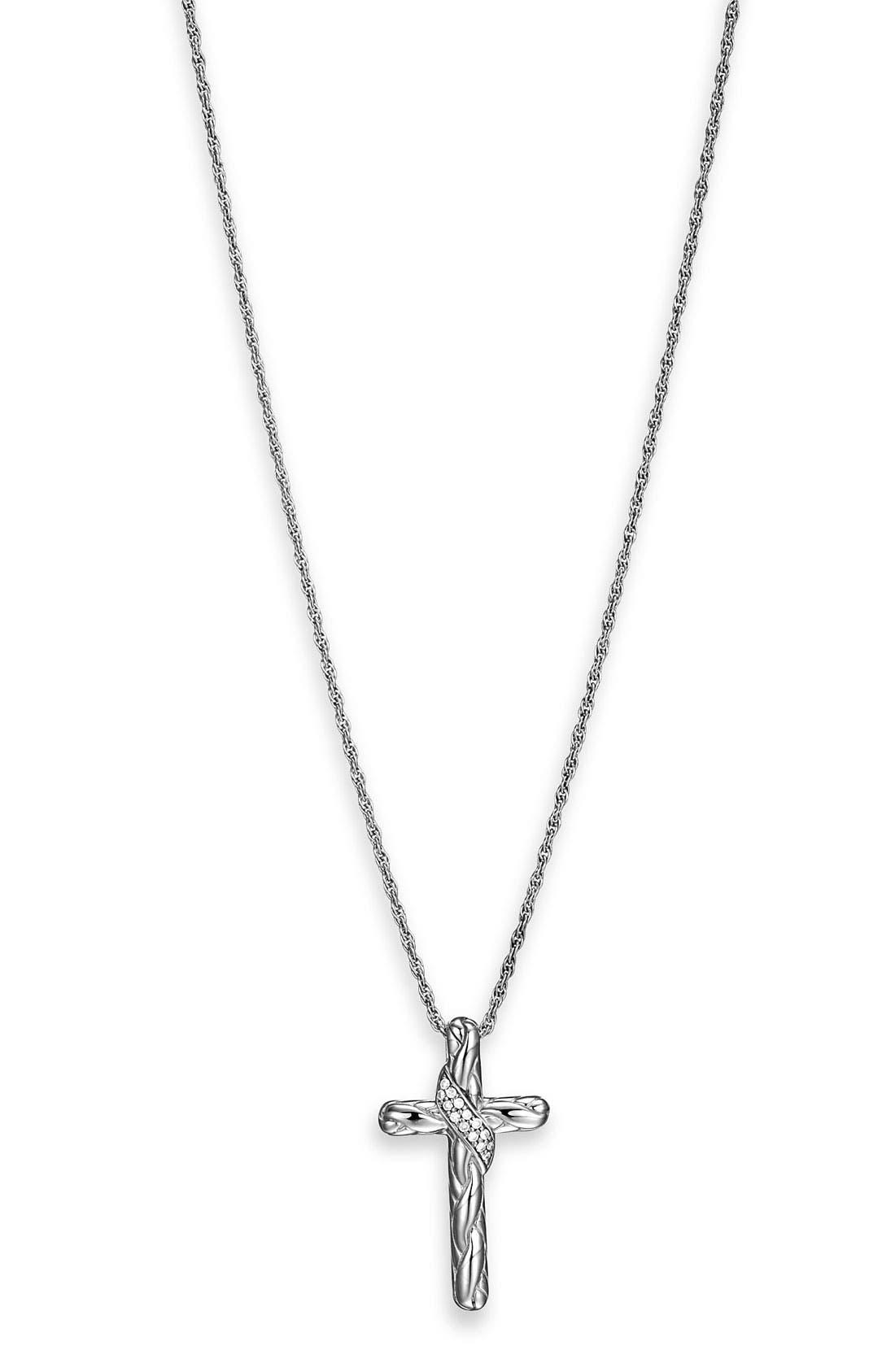 Main Image - John Hardy 'Classic Chain Kepang' Small Diamond Cross Pendant Necklace